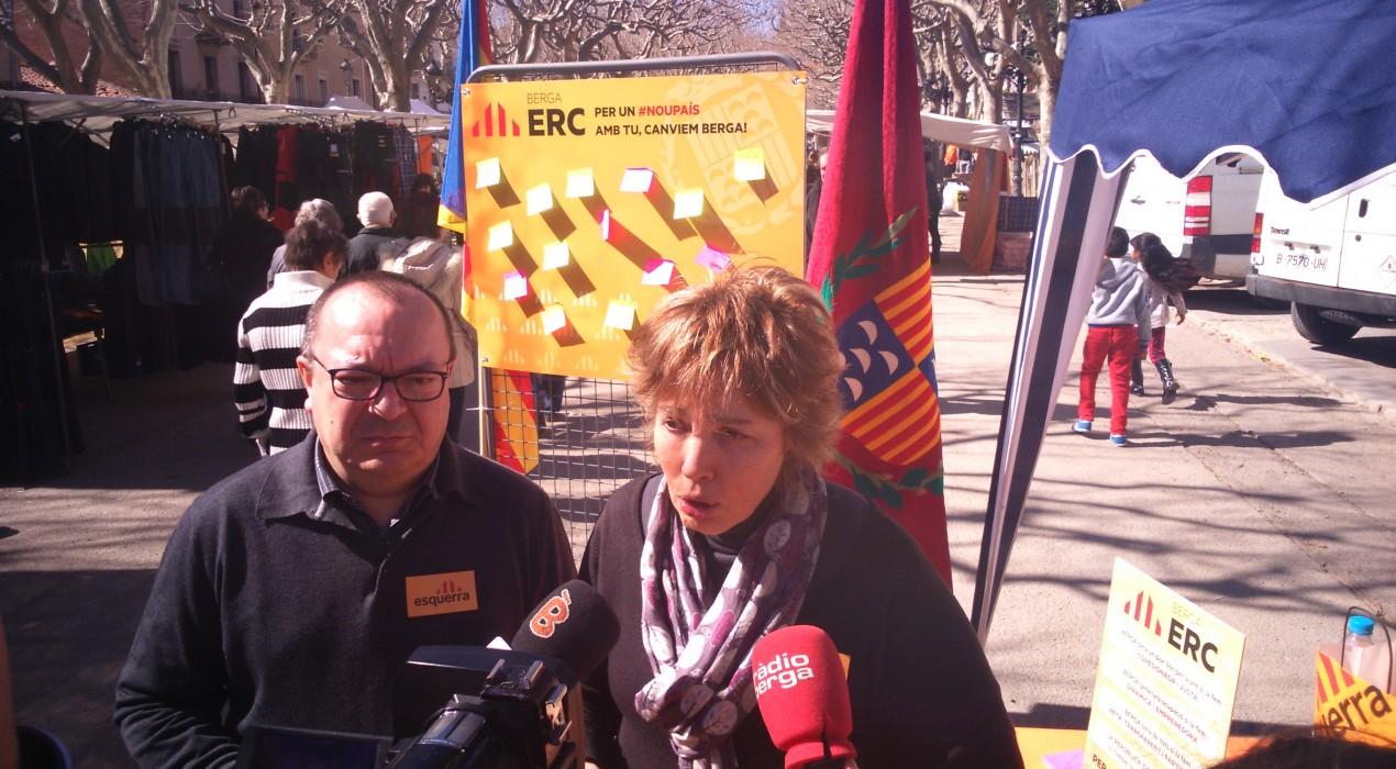 ERC de Berga instal·la una parada al Vall els dissabtes per incloure al programa les propostes dels ciutadans
