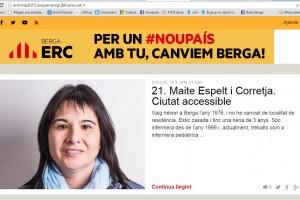 """ERC de Berga posa en funcionament un web per """"donar a conèixer"""" la candidata i la resta de persones que l'acompanyen a la llista"""