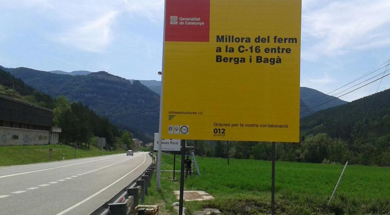 Territori i Sostenibilitat inicia les obres de millora de la seguretat viària a la C-16 entre Berga i Bagà