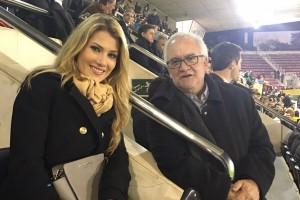 La nova Miss Món, Mireia Lalaguna, amb l'avianès Pep Graus, al Catalunya-Euskadi