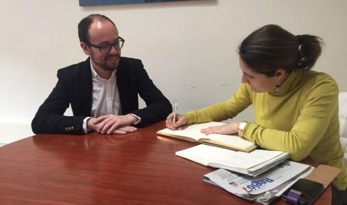 David Font i Laura Vilagrà tracten temes d'infraestructures i el desplegament territorial de la delegació