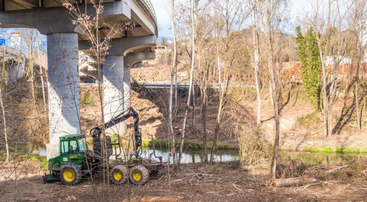 Acció conjunta de Casserres i Olvan per netejar la llera del riu Llobregat