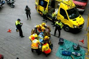 Simulacre d'un accident a la plaça de Sant Pere de Berga
