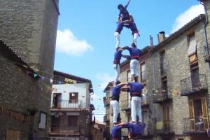 Els Castellers de Berga rememoren el seu primer castell en una diada tranquil·la a Borredà