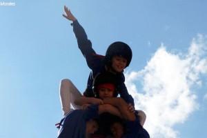 Els Castellers de Berga fan l'última actuació abans del Concurs de Castells sense problemes