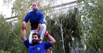 Magnífica actuació dels Castellers de Berga a Manresa amb la vista posada al Concurs de Castells