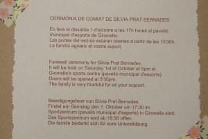 El pavelló d'esports de Gironella acomiadarà Sílvia Prat el proper dissabte, 1 d'octubre