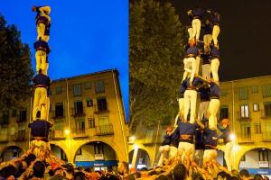 Els Castellers de Berga consoliden la torre de 7 però el 4 de 8 haurà d'esperar