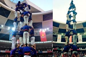 Els Castellers de Berga carreguen el primer 4 de 8 de la seva història al Concurs de Castells de Tarragona