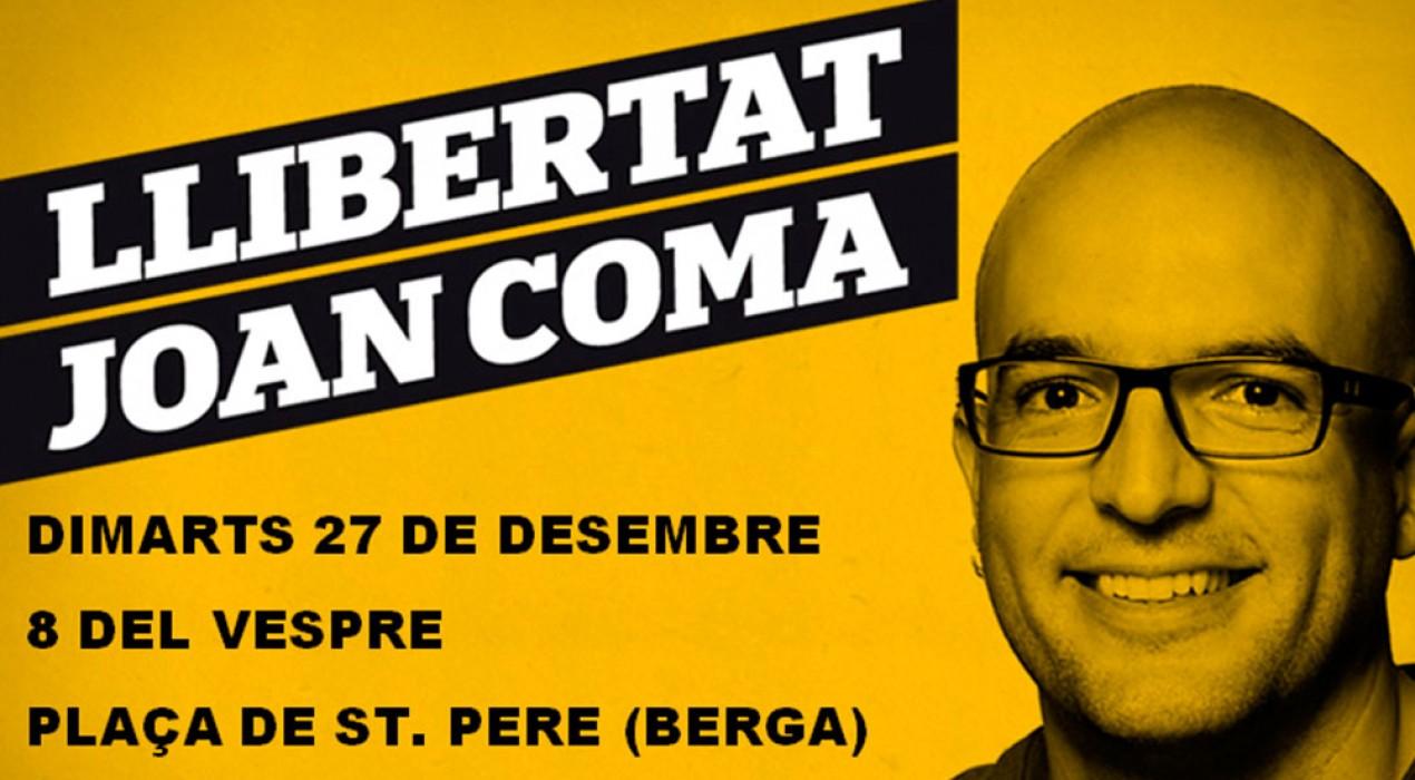 Berga convoca una concentració de suport a Joan Coma a la plaça de Sant Pere
