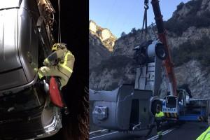 Un camió bolca a la C-16, a la Nou, i obliga a tallar la via en tots dos sentits