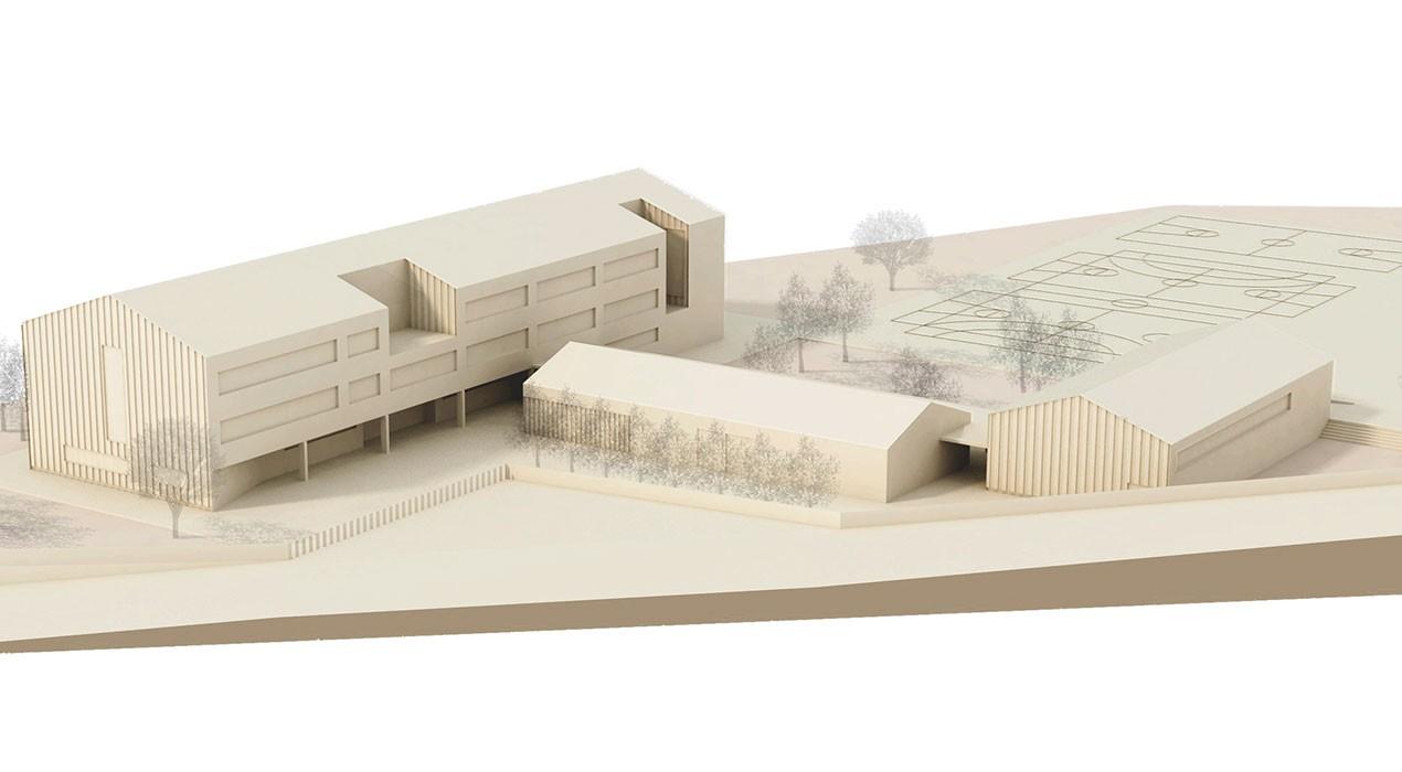 El nou serra de Noet tindrà tres edificis fets amb fusta, un pati interior i pistes poliesportives
