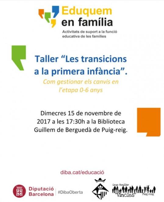 """Taller """"Les transicions a la primera infància"""" @ Biblioteca Guillem de Berguedà (PUIG-REIG)"""