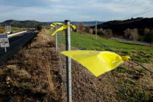 Omplen de llaços grocs la C-16 entre Berga i Gironella