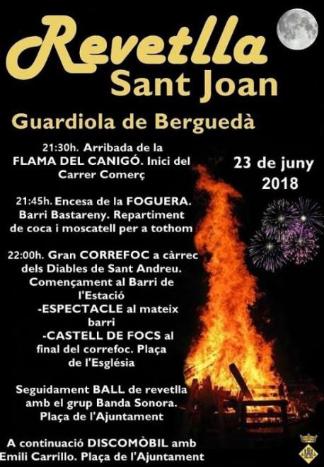 Revetlla de Sant Joan 2018 a GUARDIOLA DE BERGUEDÀ @ Guardiola de Berguedà