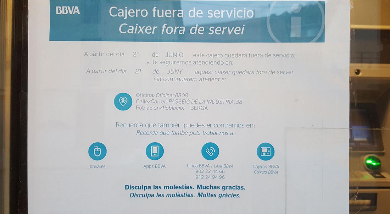 El BBVA anuncia per sorpresa que tanca l'únic caixer automàtic que hi ha a Vilada i Borredà