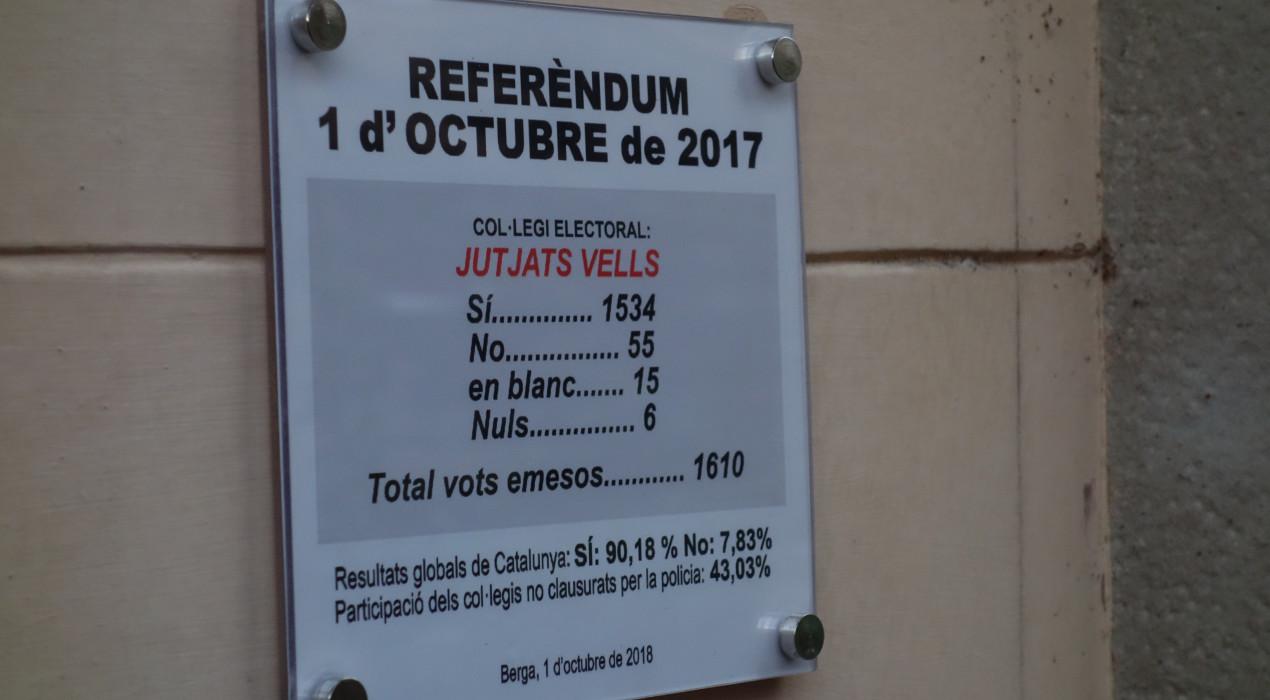 Berga col·loca una placa a cada col·legi electoral de l'1-O on només hi apareixen els resultats