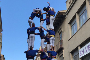 Els Castellers de Berga s'examinen a Vilafranca en l'última actuació abans del concurs de Tarragona