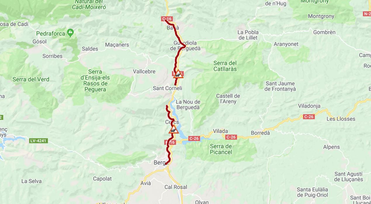 La C-16 entre Guardiola de Berguedà i Berga, congestionada des de diumenge al matí per l'operació tornada