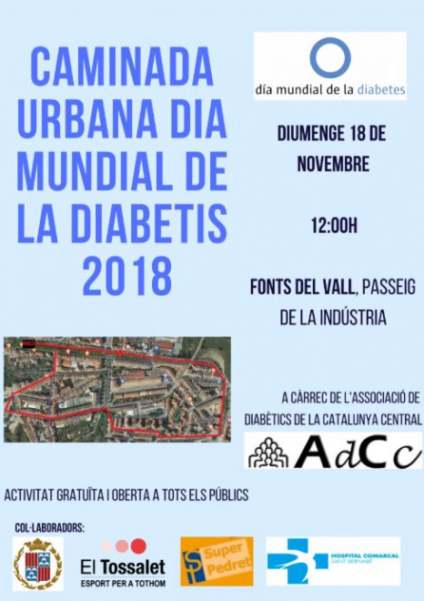 Caminada urbana Dia Mundial de la Diabetis @ Fonts del Vall (Passeig de la Indústria, BERGA)
