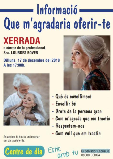 XERRADA sobre l'envelliment @ Centre de Dia ESTIC AMB TU (C/ Salvador Espriu, 8 - BERGA)