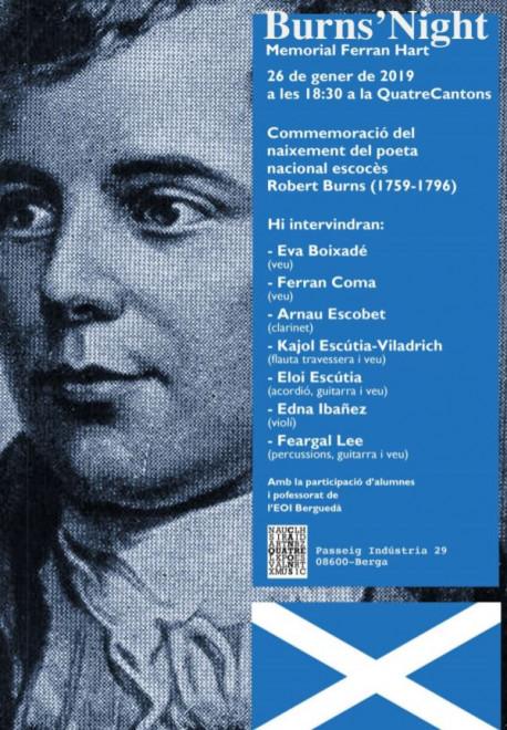 Recital dels poemes i cançons de Robert Burns @ llibreria 4cantons (Passeig de la Indústria, 29, Berga)