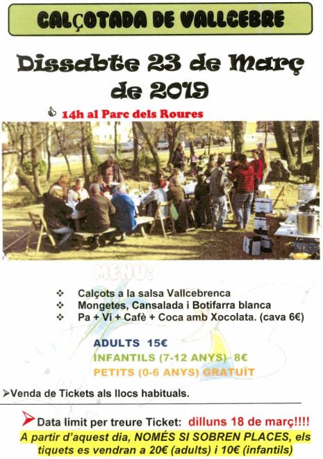 CALÇOTADA POPULAR DE VALLCEBRE 2019 @ Parc dels Roures (VALLCEBRE)