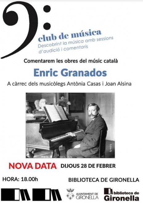 Club de música: ENRIC GRANADOS @ Biblioteca de Gironella