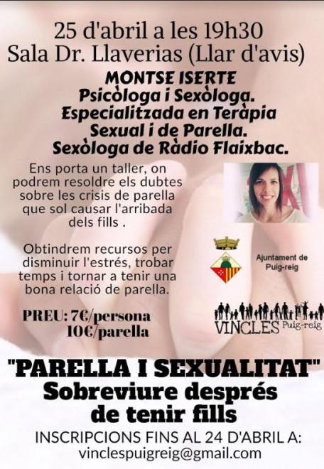 """TALLER """"Parella i sexualitat"""" Sobreviure després de tenir fills @ Sala Doctor Llaverias (PUIG-REIG)"""
