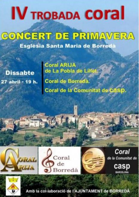 CONCERT DE PRIMAVERA- IV TROBADA CORAL @ Església Santa Maria de BORREDÀ