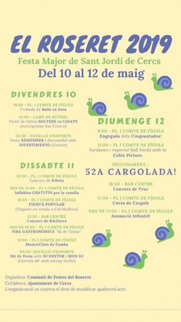 Festes del Roseret 2019 @ Sant Jordi de Cercs