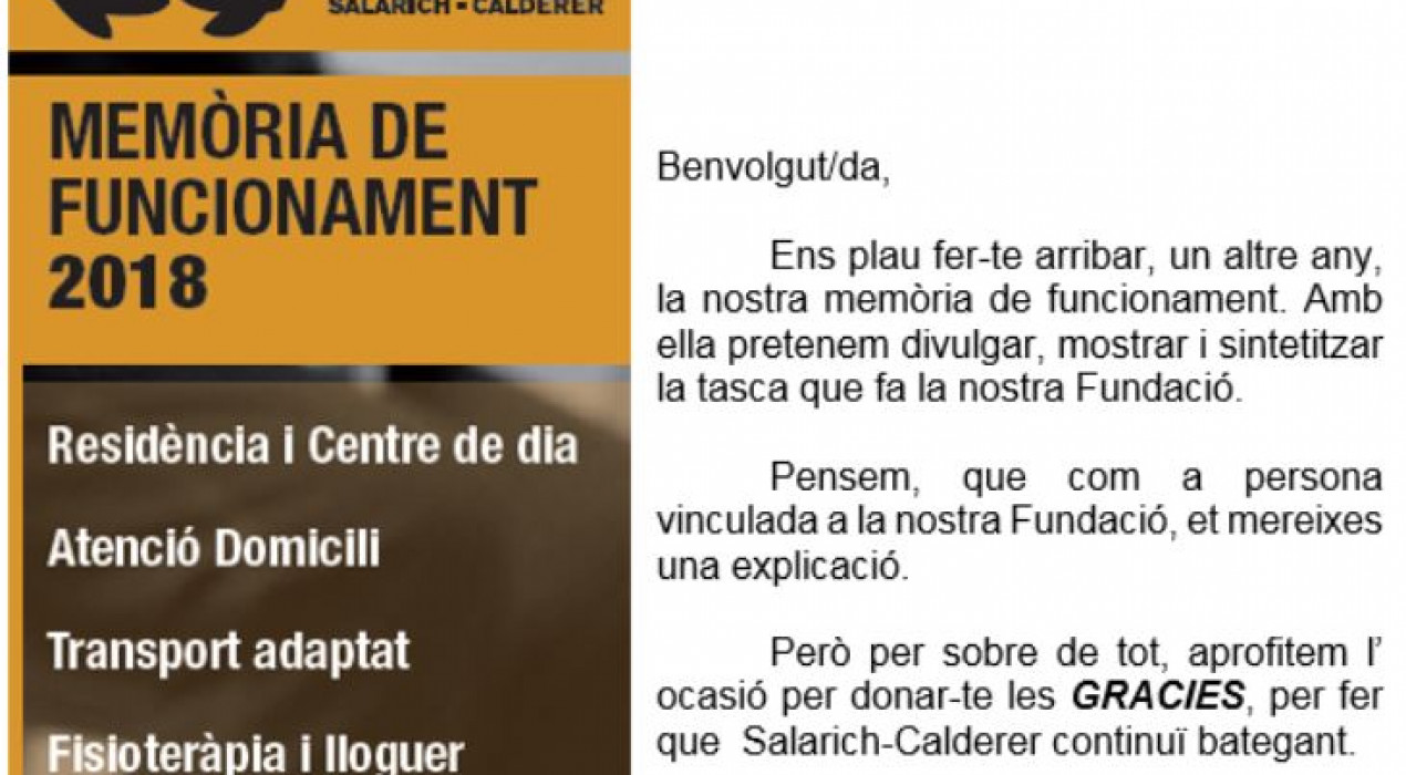 Xerrada sobre la MEMÒRIA DE FUNCIONAMENT de la Fundació Salarich-Calderer