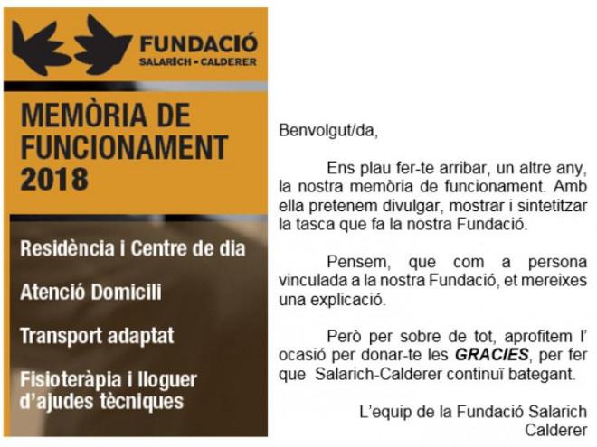 Xerrada sobre la MEMÒRIA DE FUNCIONAMENT de la Fundació Salarich-Calderer @ Fundació Salarich-Calderer (BAGÀ)