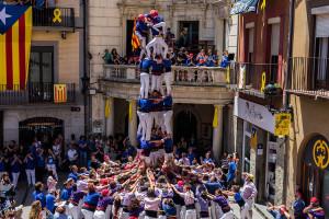Els Castellers de Berga estrenen el 4 de 7 amb agulla i el 5 de 7 a la Diada dels Quatre Fuets