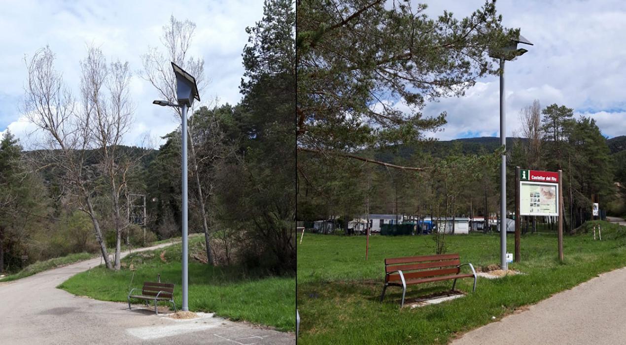 Castellar del Riu instal·la els primers fanals d'enllumenat públic a la zona de Llinars