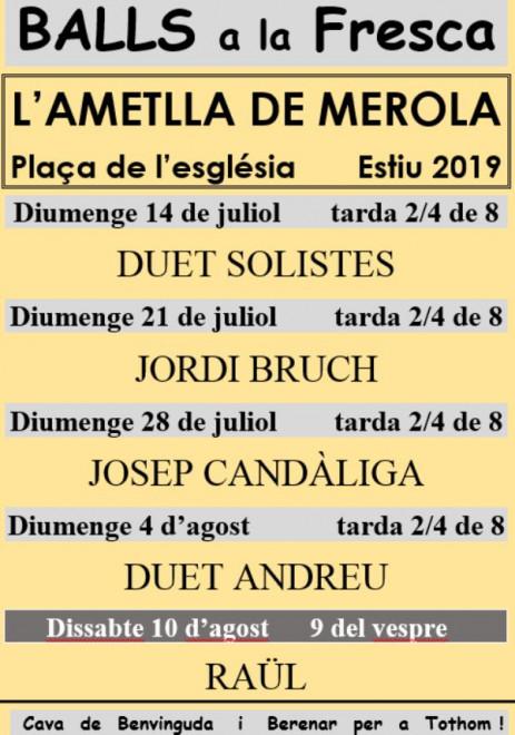 Balls a la fresca a l'Ametlla de Merola 2019 @ Plaça de l'Església (l'AMETLLA DE MEROLA)