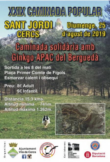 Caminada popular Sant Jordi de Cercs 2019 @ SORTIDA: Plaça Primer Comte de Fígols (Sant Jordi de Cercs)