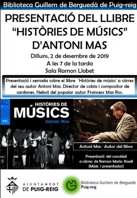 """Presentació del llibre """"Històries de músics"""" d'Antoni Mas @ Biblioteca Guillem de Berguedà (PUIG-REIG)"""