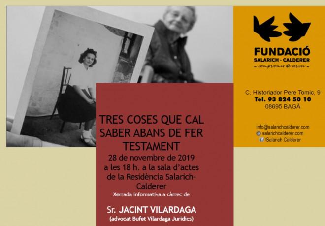 XERRADA: Tres coses que cal saber abans de fer testament @ Fundació Salarich Calderer (BAGÀ)
