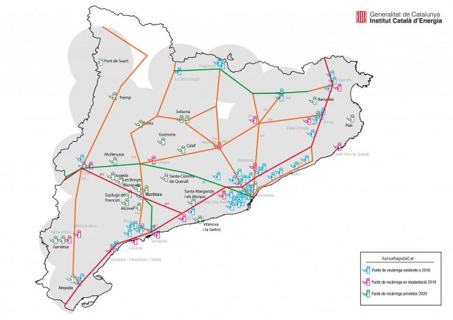 Mapa de la Xarxa bàsica pública de recàrrega ràpida de Catal