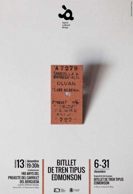 'La peça del mes': Bitllet de tren tipus Edmonson @ Museu Comarcal de Berga