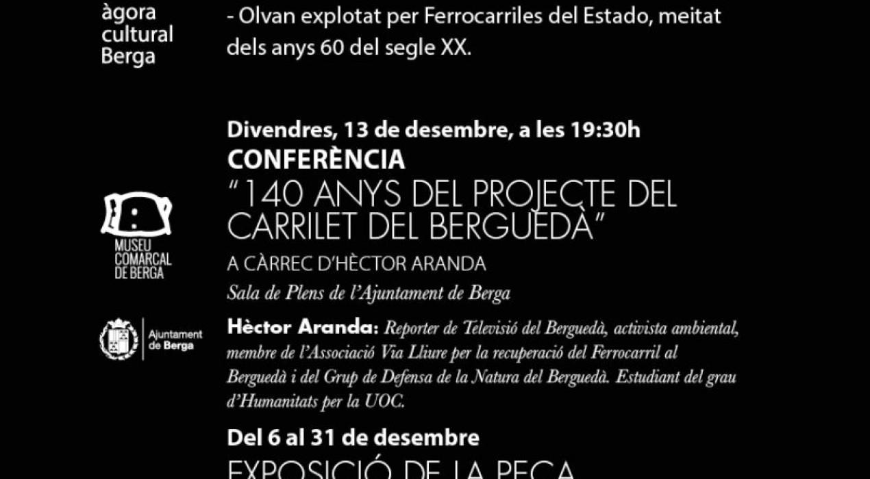 CONFERÈNCIA: '140 anys del projecte del carrilet del Berguedà'