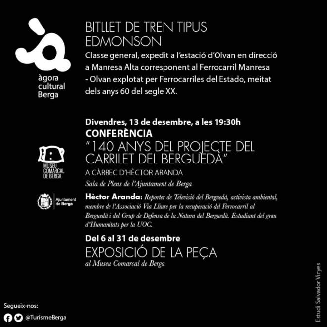 CONFERÈNCIA: '140 anys del projecte del carrilet del Berguedà' @ Sala de Plens de l'Ajuntament de Berga
