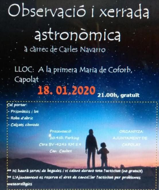 Observació i xerrada astronòmica @ Primera Maria de Coforb (CAPOLAT)