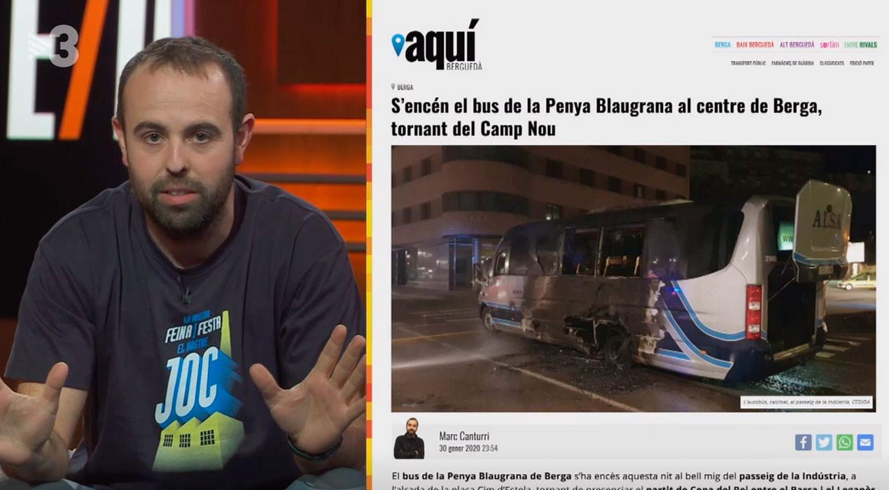"""L""""Està Passant', de TV3, es fixa amb humor en la notícia del bus encès de la Penya Blaugrana a Berga"""