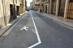 Berga amplia l'espai per a vianants a les voreres més estretes del carrer del Roser