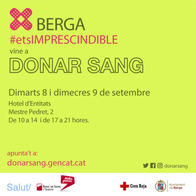 Campanya donació de sang Berga @ Hotel d'Entitats (BERGA)