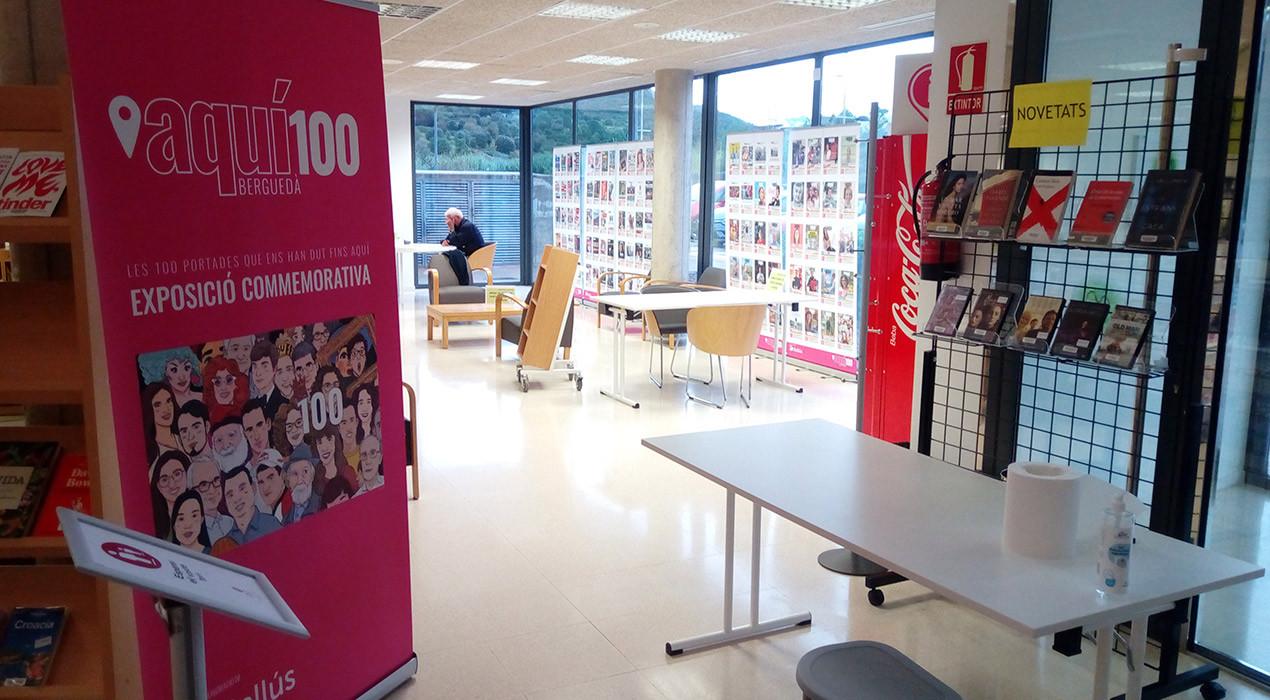 L'exposició de les 100 portades de la revista Aquí fa parada tot l'octubre a la biblioteca de Puig-reig