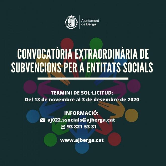 CONVOCATÒRIA DE SUBVENCIONS PER A ENTITATS SENSE ÀNIM DE LUCRE 2020