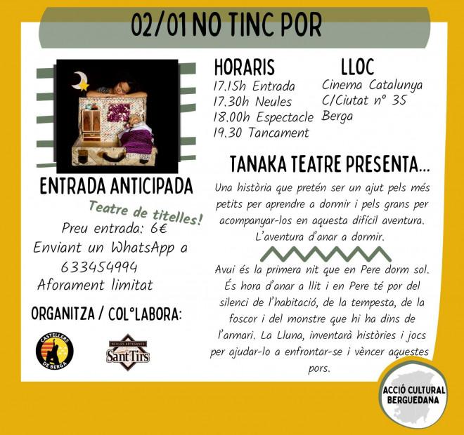 Teatre de titelles: NO TINC POR @ Cinema Catalunya (BERGA)